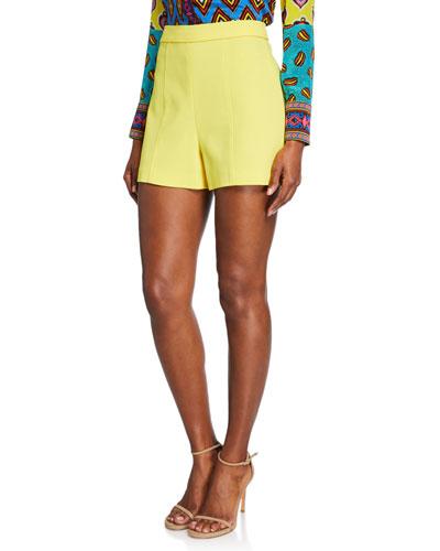 Hera High-Waist Seamed Back-Zip Shorts