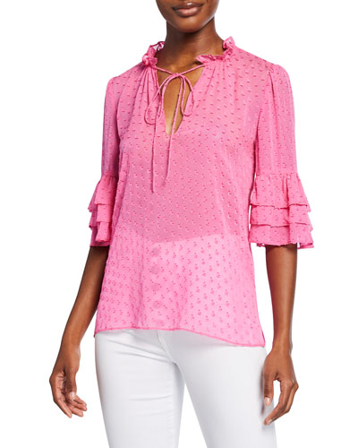 Julius V-Neck Tiered-Sleeve Tunic