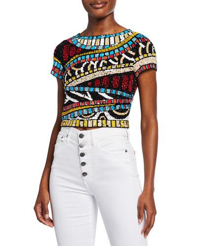Kelli Sequin Embellished Short-Sleeve Crop Top