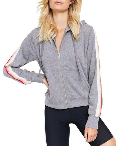 All We Need Riley Zip-Front Side-Stripe Hoodie Jacket