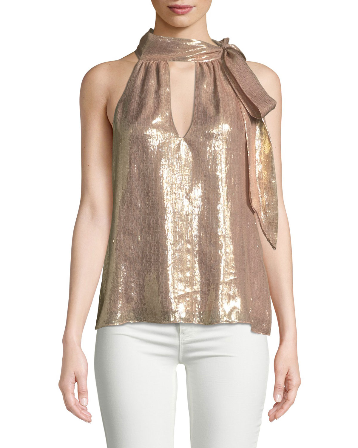 Ramy Brook Tops SASHA METALLIC TIE-NECK SLEEVELESS TOP