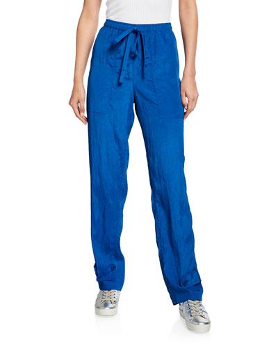 Sheer Crinkled Pull-On Pants