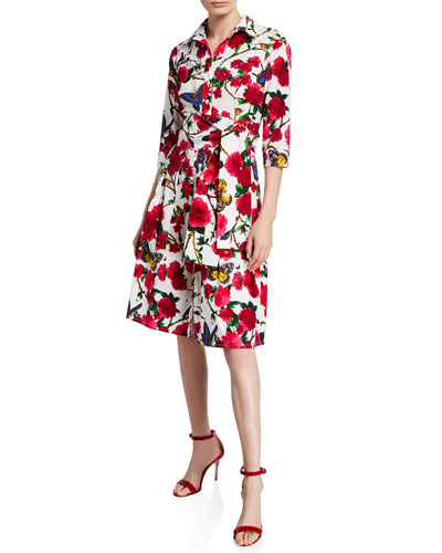 Aubrey Rose & Butterfly Printed 3/4-Sleeve Belted Shirtdress