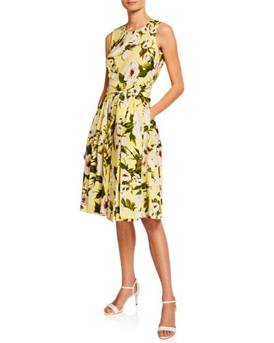 Rachel Sharon Rose Floral-Print Crewneck Sleeveless Dress