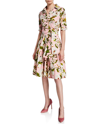 Claire Sharon Rose Half-Sleeve A-Line Shirtdress
