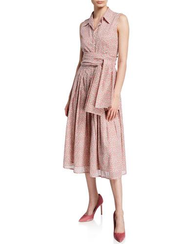 Audrey Rose Bud Button-Down Sleeveless Shirtdress