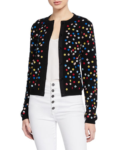 Ruthy Floral Embellished Button-Front Cardigan