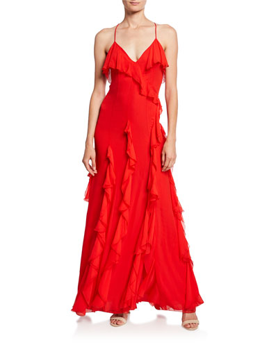 Claudine Ruffle High-Slit Gown