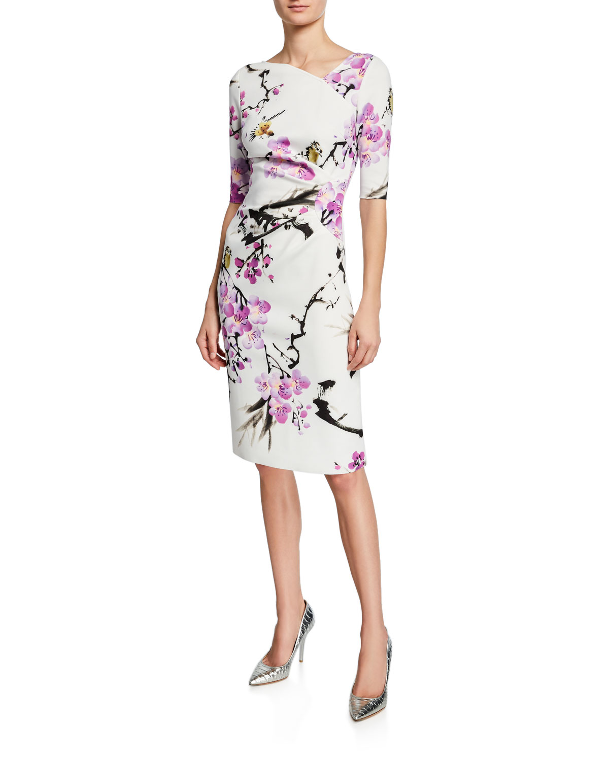Rickie Freeman For Teri Jon Dresses FLORAL ELBOW-SLEEVE SCUBA SHEATH DRESS