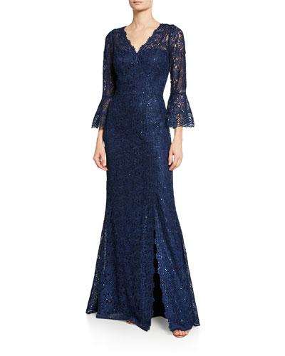 V-Neck Trumpet-Sleeve Embellished Lace Gown w/ Slit