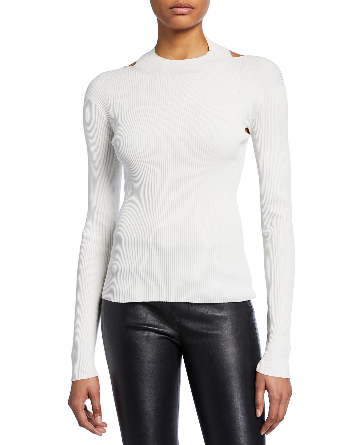 Helmut Lang Tops OPEN-BACK LONG-SLEEVE RIB TOP