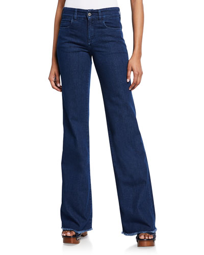 Dahlia  High-Rise Flare Jeans with Fringe Hem