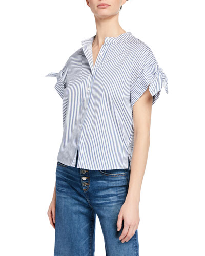 Sanaa Striped Button-Front Short-Sleeve Shirt