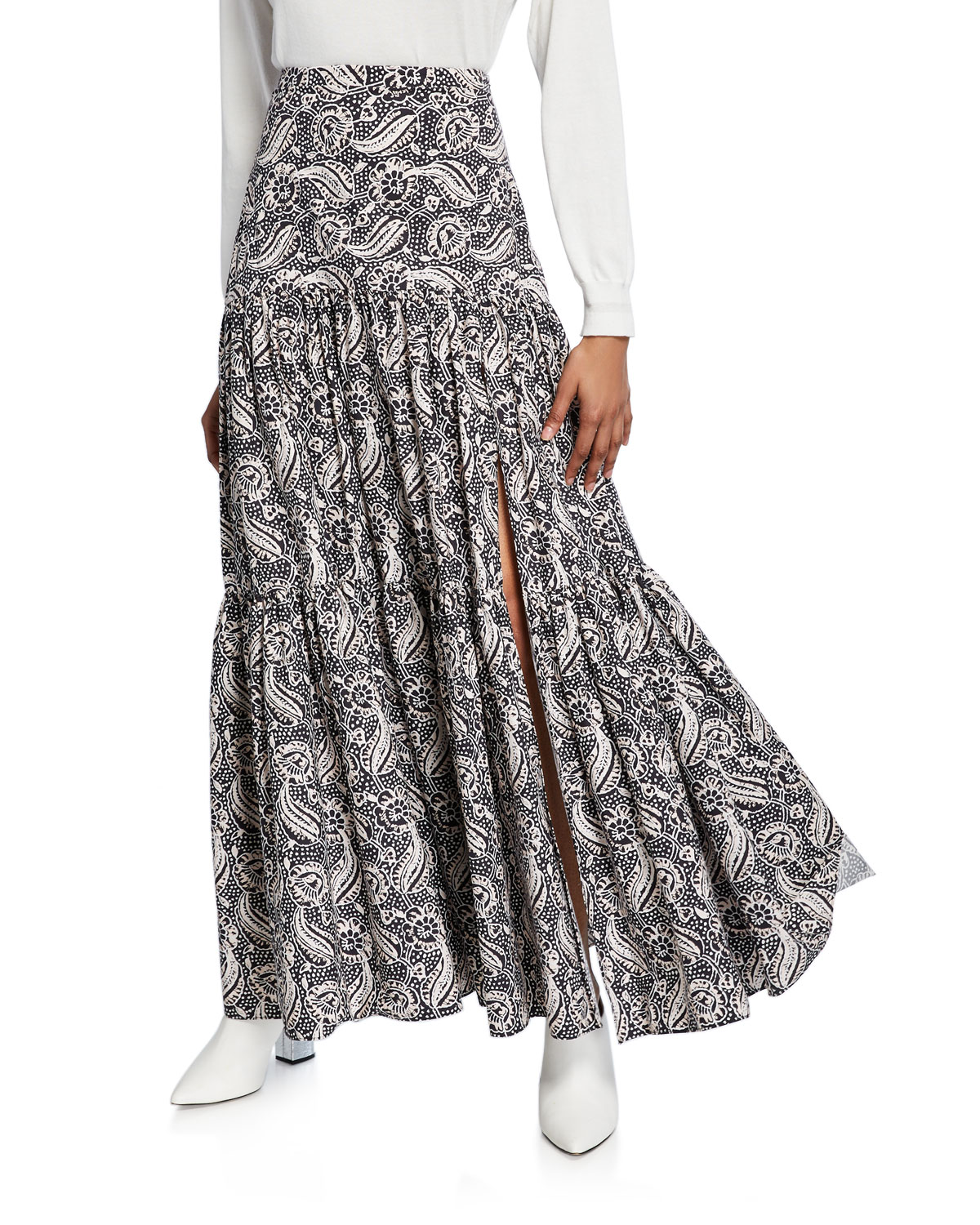 Veronica Beard Skirts SERENCE PRINTED SLIT MAXI SKIRT
