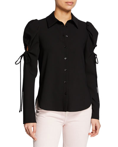 b5d47c574e8181 Tie-Sleeve Button-Front Top Quick Look. See by Chloe