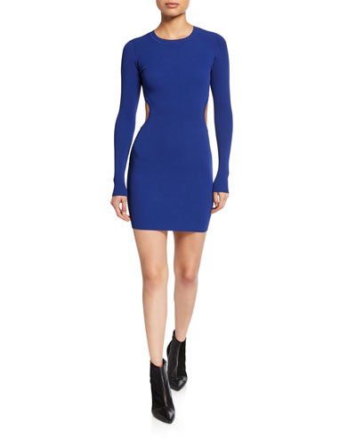 Swim Body-Con Long-Sleeve Dress with Cutouts