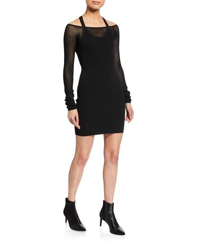 Mesh Layering Long-Sleeve Dress