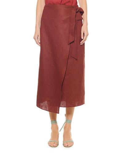 Linen Canvas Wrap Skirt