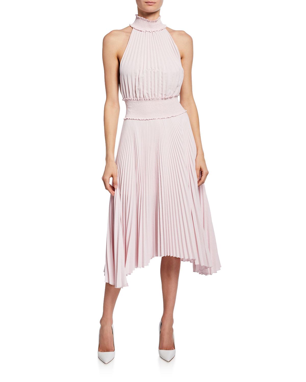 ea1c988b54b Renzo B High-Neck Pleated Midi Dress in White