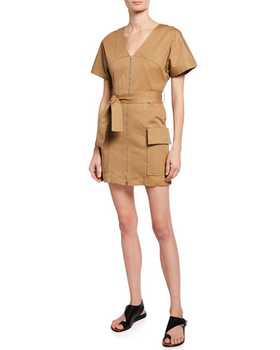 Bellamy Zip-Front Short-Sleeve Stretch-Cotton Dress