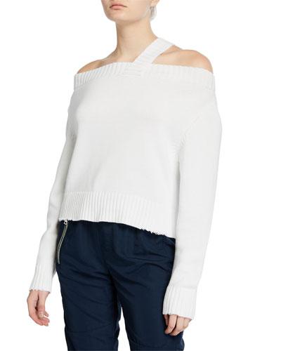 Beckett Off-Shoulder Sweater, White
