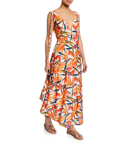 Printed V-Neck Sleeveless Tie-Shoulder Maxi Dress