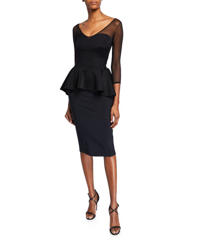 Arquette Illusion 3/4-Sleeve Peplum Cocktail Dress