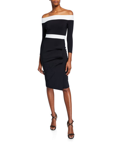 Larissa Bicolor Off-the-Shoulder 3/4-Sleeve Cocktail Dress