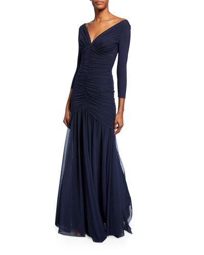 Dikta V-Neck 3/4-Sleeve Shirred Mermaid Gown