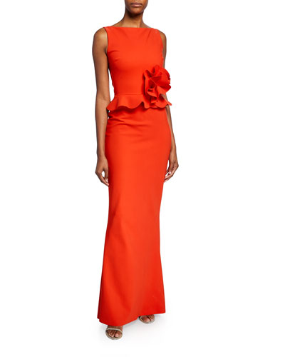 Tyg High-Neck Sleeveless Peplum Gown w/ Ruffle-Detail