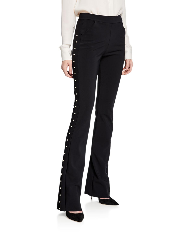 Chiara Boni La Petite Robe Pants TULAY STRAIGHT-LEG PANTS WITH PEARLY TRIM