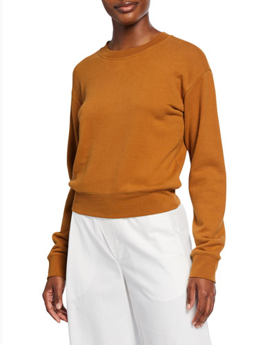 Crewneck Long-Sleeve Cotton Pullover