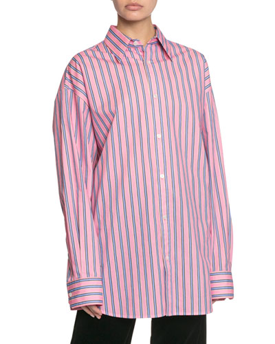 The Men's Striped Button-Down Cotton Shirt