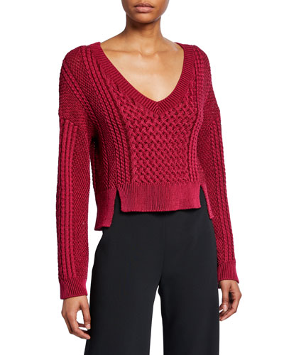 Cable-Knit V-Neck Cropped Sweater