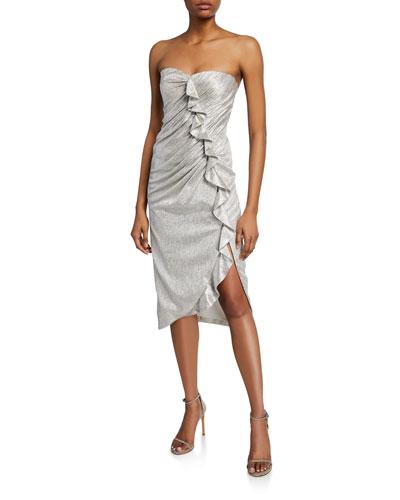 Plisse Metallic Bustier Ruffle Dress