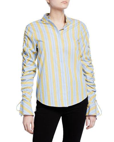 Ruched Oxford Button-Down Shirt