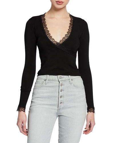 Knit Long-Sleeve Wrap Top with Lace