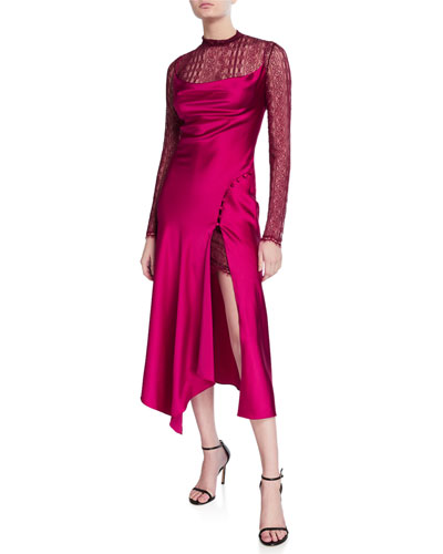 Sateen Lingerie Lace Underlay Long-Sleeve Midi Dress