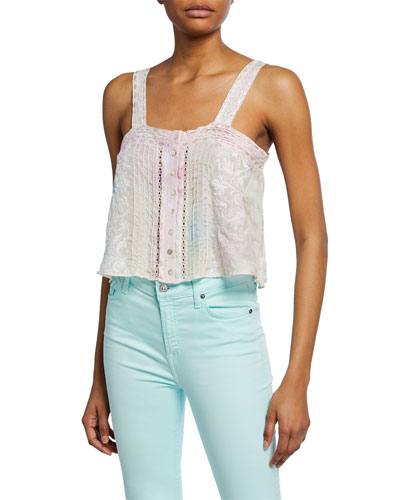 Daisy Embroidered Silk Button-Front Top