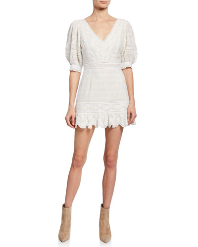Lena V-Neck Elbow-Sleeve Mini Dress w/ Embroidery