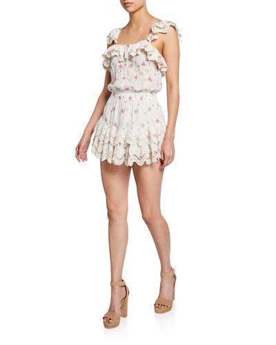 Marina Embroidered Ruffle Short Dress
