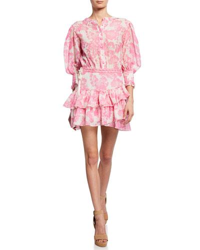 Lorelei 3/4-Sleeve Floral Short Dress