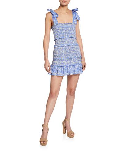 Belle Smocked Floral Square-Neck Mini Dress