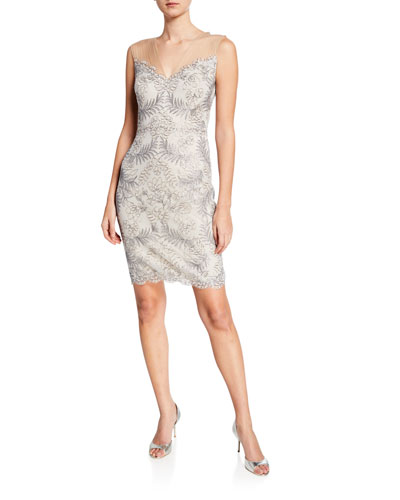 Sleeveless Embellished Corded Lace Cocktail Dress