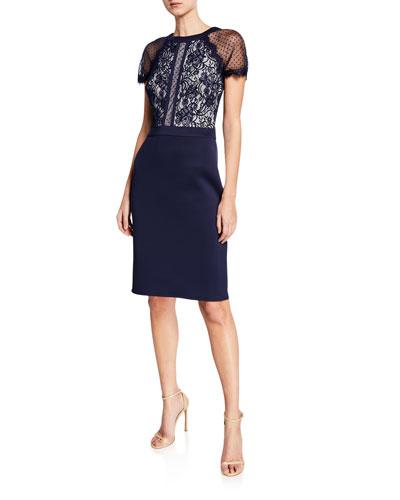 Short-Sleeve Lace & Neoprene Cocktail Dress