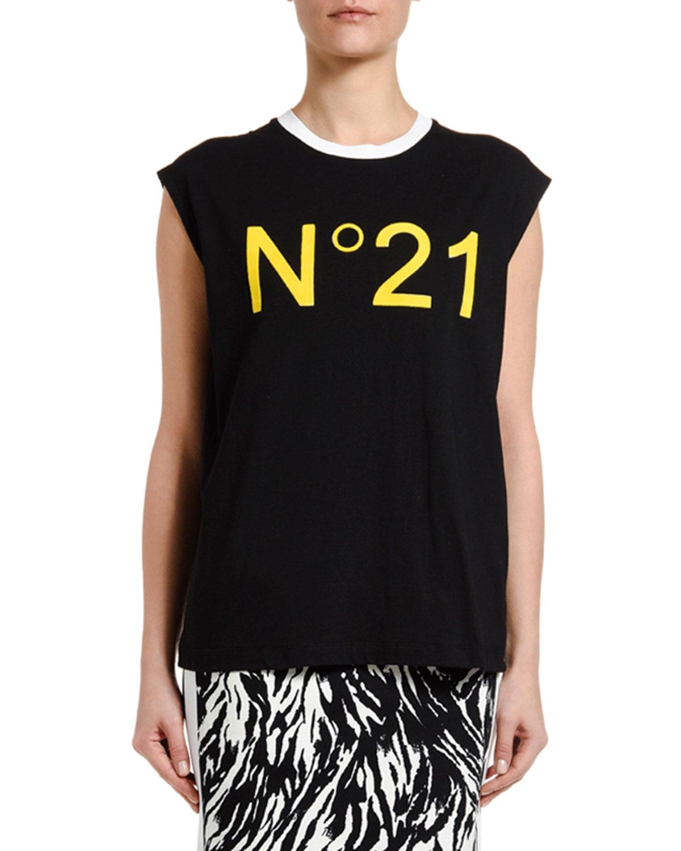 N°21 T-shirts SLEEVELESS LOGO T-SHIRT