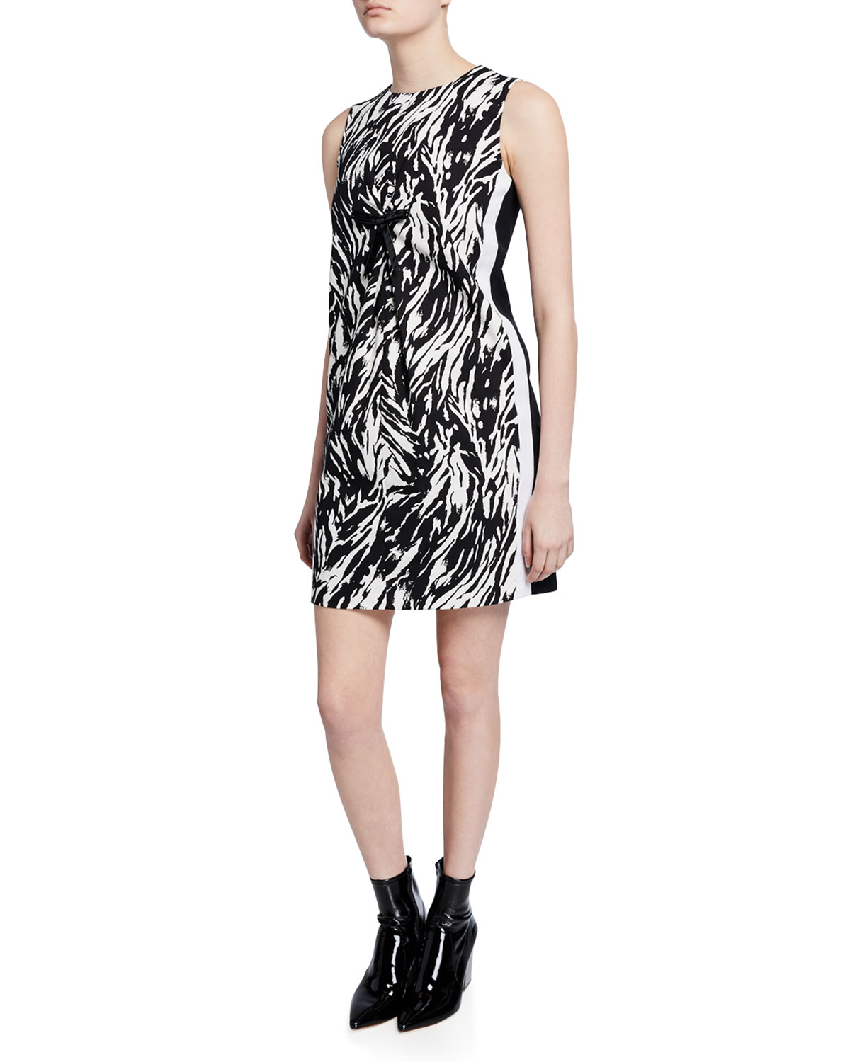 N°21 Dresses ZEBRA-PRINT SLEEVELESS SHORT SHIFT DRESS