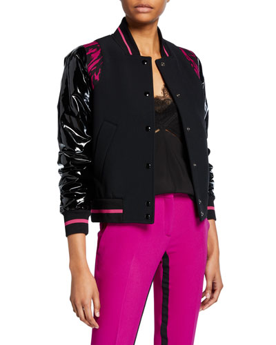 Sporty Contrast-Sleeve Bomber Jacket