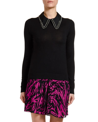 Wool-Silk Long-Sleeve Top with Embellished Collar