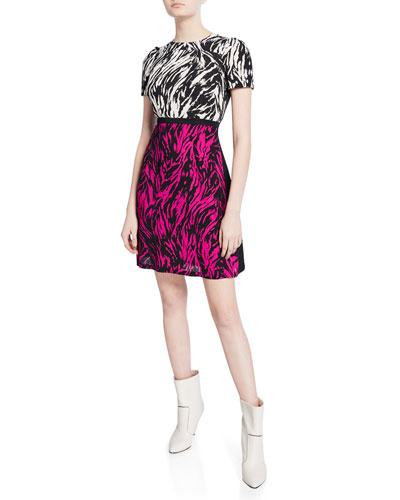 Two-Tone Printed Short-Sleeve Mini Dress